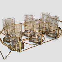 6 Frosted Dot Glasses in Carrier Clear Glass Tumblers in Convertible Swing Server Holder