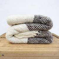 Organic blanket, Striped Undyed black and white wool sheep handwoven blanket, Natural eco home decor by TexturableDecor