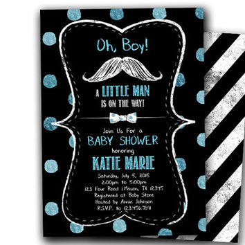 Chalk Moustache Baby Shower Invitation Boy - Little Man Baby Shower Invitation - Bowtie Baby Shower Invites - its a boy - Hipster - Trendy