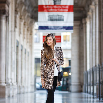 Yellow Long Sleeve Leopard Print Coat
