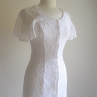 Vintage Sheer White Lace Button-up Dress Size Small