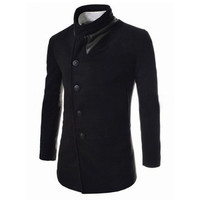 Black Stand Collar Long Sleeves Woolen Coat