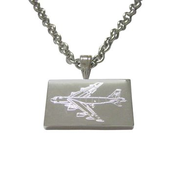 Silver Toned Etched Airplane Pendant Necklace