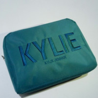 Kylie Christmas Green Embroidery Storage Big Capacity Make-up Bag [429893320740]