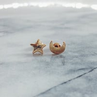 Sample Item: Star and Moon Stud Earrings