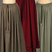 Medieval Renaissance Peasant Maiden Skirt Costume, Handmade Natural Cotton