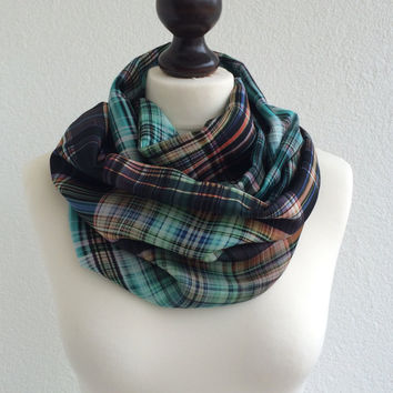 Colorful Plaid Scarf, Tartan Circle Scarf, Checkered Satin Infinity Scarf, Boho Printed Loop Scarf, Unisex Scarf, Designscope