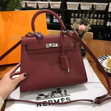 Hermes High Quality Classic Fashion Women Leather Handbag Tote Shoulder Bag Crossbody Burgundy