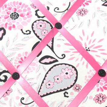 Pink Blossom Paisley Memory Board French Memo Board on Etsy Pink Black Gray Fabric Board Ribbon Board Bulletin Board Children Women Bedroom