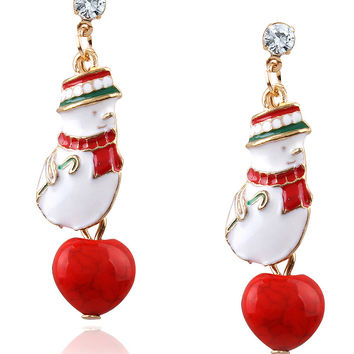 Red Cute Snowman And Heart Turquoise Pendant Christmas Earrings
