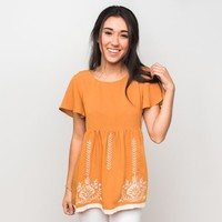 Elena Embroidery Garden Top - Camel | Called To Surf