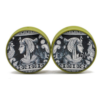Egyptian Wall Etching Moss Green BMA Plugs (2mm-28.5mm)