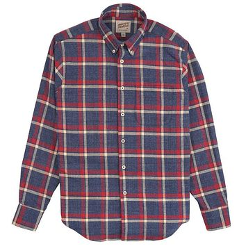 Naked & Famous Denim - Northern Brushed Flannel Blue Red Easy Shirt