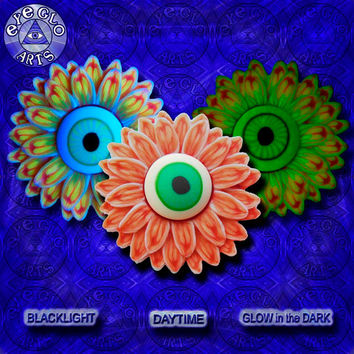 EyeGloArts Halloween Neon Orange Red and Aqua Glow in the Dark Eyeball Flower Pendant Handmade Black light jewelry UV wearable Art