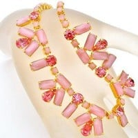 Pink Satin Glass Rhinestone Vintage Necklace