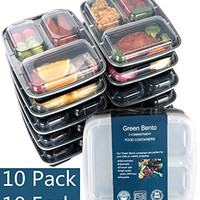 [10 Pack]3 Compartment Meal Prep Food Storage Containers with Lids/BPA Free Bento Lunch Boxes/Divided Portion Control Container Plates-Microwave, Dishwasher Safe, Free Cutlery