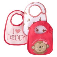 Carter's Bib Set ' mommy adores me ' 3 Bibs monkey