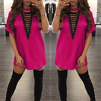 "pink "" New York Minute"" lace up tshirt dress"