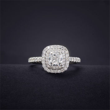 Cushion Cut 0.5ct Real Diamond Double Halo Accent 1.02CTW Engagement Ring