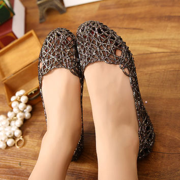 Women's Sandals 2016 Fashion Lady Girl Sandals Summer Women Casual Jelly Shoes Sandals Hollow Out Mesh Flats  23-25cm PA864521