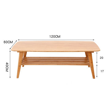 Modern Coffee Table Bamboo Furniture Living Room Rectangle Low Tea Center Table Design Indoor Sofa Side Bamboo Table With Shelf