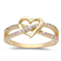 925 Yellow Gold LOVE KNOT HEART Ring CZ Sterling Silver Promise Ring Engagement