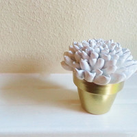 White Flower Sculpture in Gold Container, Simple gift for Mom, Wedding Favors,Modern Desk accessory