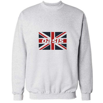 oasis flag sweater White Sweatshirt Crewneck Men or Women for Unisex Size with variant colour