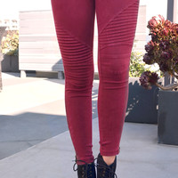 Biker Jeggings - Wine