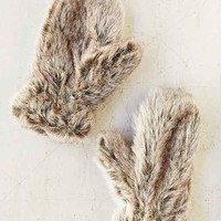 Allover Faux Fur Mitten- Brown One