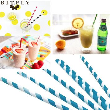 25pcs Paper Drinking Straws Stripe even Party Wedding Decoration Kids Birthday Baby Shower Christmas Supplies Halloween blue