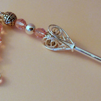 Light Rose & Silver Dangle Hairstick, Crystal Hairstick, Silver Hair Stick, Bridal Hair, Prom Hair