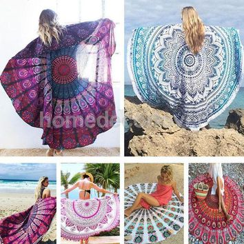ESBU3C Round Cotton Indian Tapestry Hippy Boho Gypsy Wall Hanging Beach Towel Tablecloth Yoga Mat Decor Bohemian 56'