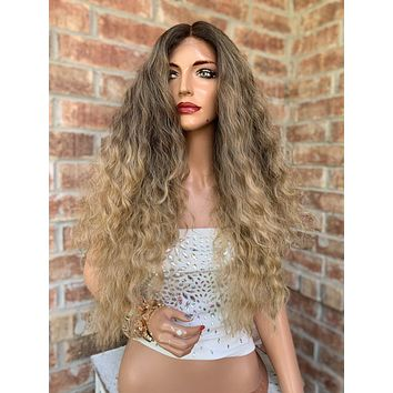 """Blonde Ombré Hair SWISS Lace Front Wig 26""""  Lady Marmalade 0519"""