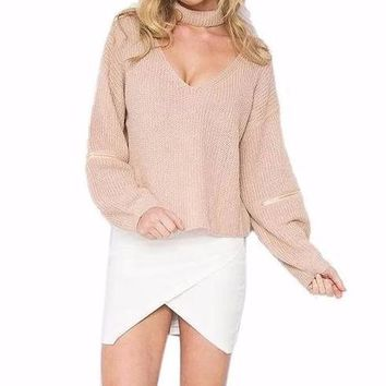Women's Beige V-Neck Knitted Pullover Sweater Top with Matching Choker Necklace Included