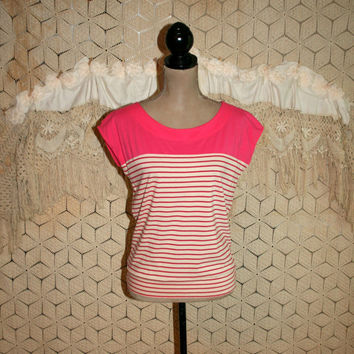 Striped Shirt Pink & White Small Summer Top Casual Cotton Jersey Top Nautical Sailor Top Sleeveless Blouson Ann Taylor Womens Clothing