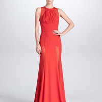 Sheer-Panel Evening Gown, Crimson