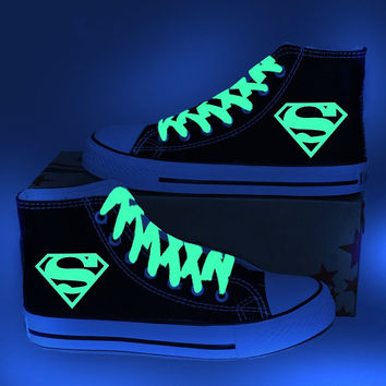 Hand paint Superman Glow in the dark Sneakers, Glow- in- the- dark, Glow-in-the-dark canvas sneakers shoes, Unisex Sneakers