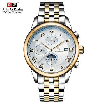 TEVISE Automatic Mechanical Watches Men Self Wind Luxury Moon Phase Stainless Steel Luminous Calendar Wristwatches 9008