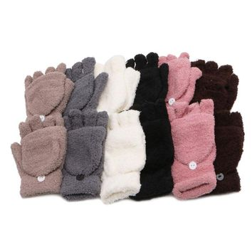 Unisex Coral Cashmere Knitted Fingerless Gloves  Winter Soft Warm Mittens Gloves