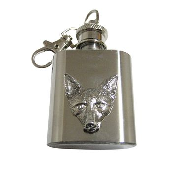 Silver Toned Textured Fox Head 1 Oz. Stainless Steel Key Chain Flask