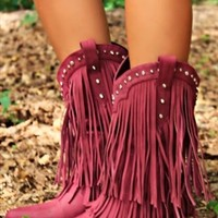 Four Strong Winds Fringe Boots - Burgundy