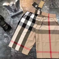 Burberry Men Brown Plais Shorts B-MG-FSSH Brown