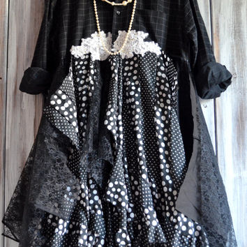 Stevie Nicks style coat, Bohemian lace dresses, Romantic Polk a dot French coat dress, Boho clothes, Shabby chic jacket, True rebel clothing