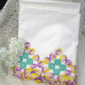 White Pillowcase Set - Standard Size - Purple Yellow Teal Crochet Trim - Vintage Bed Linens - Cotton Muslin Fabric - Bedroom Decor - Gift