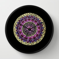 Pink and Gold Mandala Wall Clock by YiaEfthimia