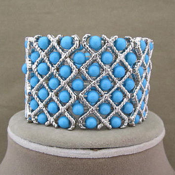 Vintage Turquoise Blue Beaded Wide Stretch Cuff Bracelet