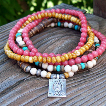 River Run - Boho Beaded Stretch Bracelets - White and Pink Riverstone - Coconut Heishi Shell