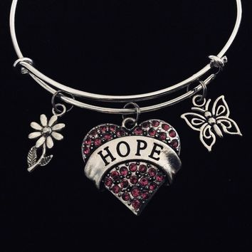 Crystal Heart Faith Jewelry Expandable Charm Bracelet Silver Adjustable Bangle Trendy Gift One Size Fits All Butterfly Daisy
