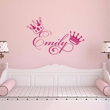 Girls Name Wall Decals Personalized Sticker Crown Baby Girl Nursery Decal Bedroom Removable Sweet Decoration Art Stickers S156